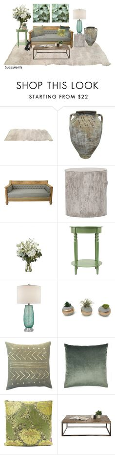 """Untitled #633"" by krahmmm on Polyvore featuring interior, interiors, interior design, home, home decor, interior decorating, Patina Vie, Currey & Company, Liberty Art Fabrics and succulents"