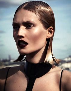 Toni Garrn is killing it in this vampy spread for Interview Russia with dark wine lips, a sleek wet-look bob and cut-out leather details. Photographers: Driu & Tiago Styled by: Katie Burnett