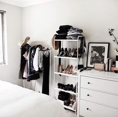 If you're short on closet space, buy a cheap bookcase (like this one from IKEA. If you're short on closet space, buy a cheap bookcase (like this one from IKEA) for backup. Ikea Closet, Closet Bedroom, Closet Space, Closet Storage, Cozy Bedroom, Closet Organization, Tiny Closet, Tiny Bedroom Storage, Ikea Storage