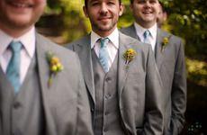 Groomsmen Attire   Grey Suit   Yellow Boutonniere   Blue Necktie   NYC Brooklyn Wedding Photographer