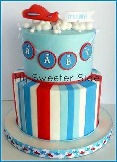 Airplane Baby Shower Cake Buttercream cake with fondant decorations. Airplane Baby Shower Cake, Baby Shower Cakes For Boys, Baby Boy Cakes, Baby Shower Desserts, Baby Shower Cookies, Airplane Party, Airplane Cakes, Planes Party, Planes Cake