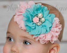 White headbandPink Baby HeadbandChristening by ThinkPinkBows