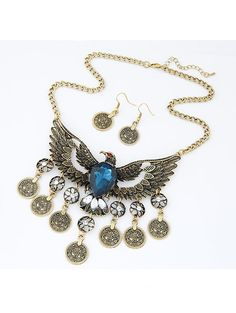 Retro pendant necklace gemstone coin owl decoration and ear drop SX-1112-006