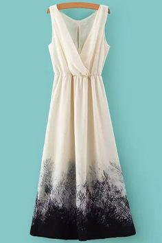 Color Block Print Elastic Waist Maxi Dress