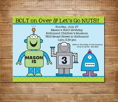 Robot birthday invitation Robot Invite Boys by chevronprintables