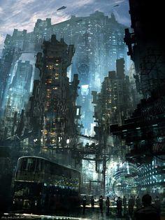 The Art Of Animation, Feng Zhu / cyberpunk / futuristic steampunk / fantasy / sci fi / digital backgrounds Fantasy Anime, 3d Fantasy, Fantasy Places, Fantasy Landscape, Fantasy World, Landscape Art, Cyberpunk City, Cyberpunk Kunst, Futuristic City