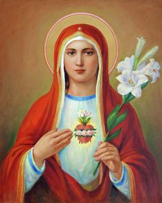 Heart Of Mary Canvas Print / Canvas Art by Svitozar Nenyuk -Immaculate Heart Of Mary Canvas Print / Canvas Art by Svitozar Nenyuk - Our Lady of Sorrows Wood Wall Art Inspiraciones Original Portrait Painting by Naoufal Ahocal Divine Mother, Blessed Mother Mary, Blessed Virgin Mary, Mother Heart, Religious Paintings, Religious Art, Hail Holy Queen, Jesus E Maria, Mama Mary