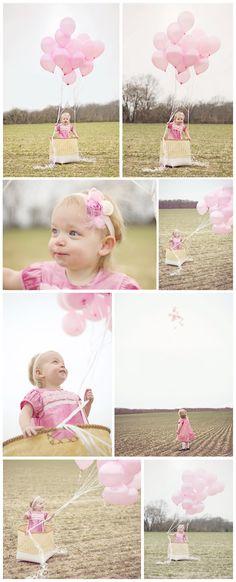 Balloon basket portraits.  Toddler hot air balloon.