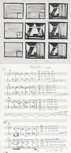 "Designs and score exhibit for Robert Wilson & Philip Glass's ""Einstein on the Beach"" opera."