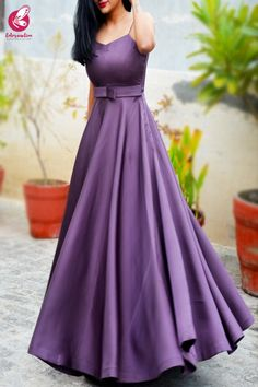 Shop Mauve Padded Pure Satin Floor Length Padded Gown - Gowns Online in India Gown Party Wear, Party Wear Indian Dresses, Indian Gowns Dresses, Dress Indian Style, Indian Fashion Dresses, Western Dresses For Girl, Western Dresses For Women, Frock For Women, Stylish Dresses For Girls