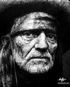 Willie Nelson Portrait Black and White by chuckhodi