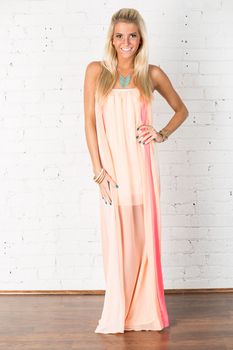 Peach Melon Splash Maxi Dress - Modern Vintage Boutique