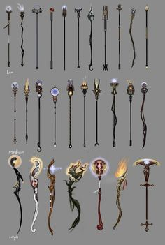 some different wands/styles of wands Wizard Staff, Wizard Wand, Armes Concept, Staff Magic, Wooden Staff, Witch Wand, Weapon Concept Art, Fantasy Weapons, Anime Weapons Scythe