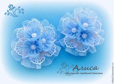 """Купить Резинки для девочки ,канзаши """"Голубое облако """" - голубой, резиночки для волос, резиночки для девочки"""