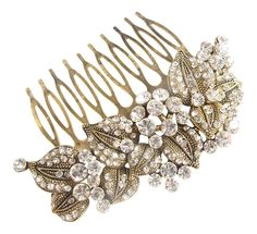 Antique Gold and Crystal Leafy and Flower Hair Comb *** Want additional info? Click on the image.