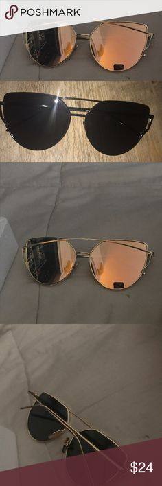 Cat eye sunglasses New in package Sunglasses bundle.   Metal frames gold pair has rose gold mirror tint and other pair is all black Accessories Glasses