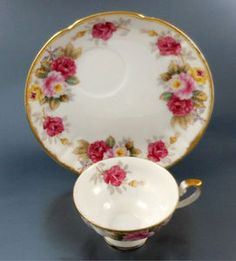 Shafford China Pink Roses Snack Set