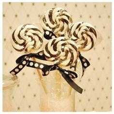 black and white swirl lollipops