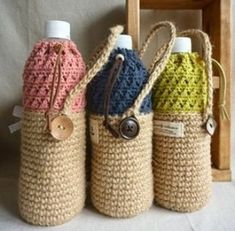 "New Cheap Bags. The location where building and construction meets style, beaded crochet is the act of using beads to decorate crocheted products. ""Crochet"" is derived fro Mode Crochet, Crochet Home, Bead Crochet, Crochet Gifts, Crochet Designs, Crochet Patterns, Bottle Bag, Water Bottle, Crochet Kitchen"