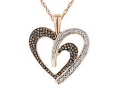 White and Champagne Diamond Heart Pendant Necklace 1/3 Carat (ctw) in 10K Rose Gold with Chain