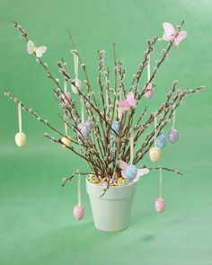 Pussy Willow Arrangement    Make this lovely pussy willow arrangement for Easter, and when the holiday is over, remove the eggs and display with your spring decorations.