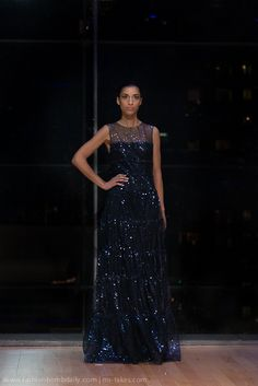 Kevin Hall Signature Collection Navy Gown.