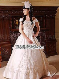 Vestido de fiesta Sin tirantes Tren Cepillo satén Champán vestidos de novia - PARISISI