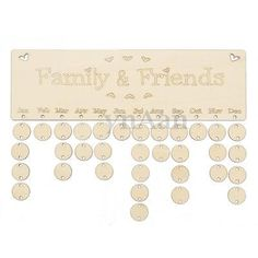 Family & Friends Birthday Anniversary Wood Board Reminder dates Sign DIY 50 tag
