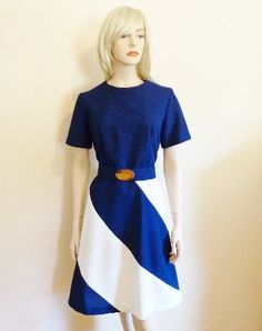 Sassy Statement Dress in Navy Blue & White by VanityFlairVintage.  Offers accepted, mail to: vanityflairvintage@gmail.com