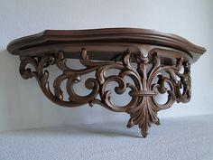 """Large Shelf ornate baroque hollywood regency paris apartment vintage large metallic """"Vintage Copper Ornate Shelf"""""""