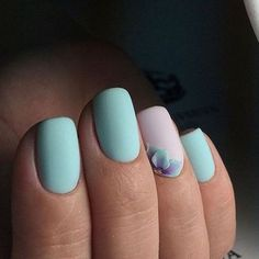 One of the most popular nail polish combination for pastel nail art is light blue and lavender, and this little flower on the ring finger adds a beautiful Pastel Nail Art, Pastel Blue Nails, Mint Green Nails, 3d Nail Art, Pastel Colors, Neutral Colors, Popular Nail Art, Uñas Fashion, Manicure E Pedicure