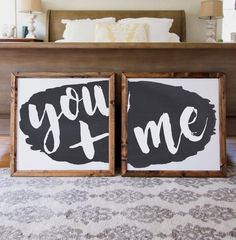 Wood Framed Signboard - You   Me - SQ [DUO]