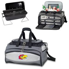 The Kansas Jayhawks Buccaneer Grill Cooler Includes a Portable Charcoal Grill and Cooler set with grill tools as well, perfect for Jayhawks tailgating and grilling!