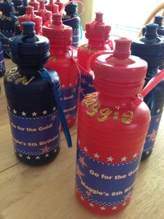 Water bottles for Olympics birthday party
