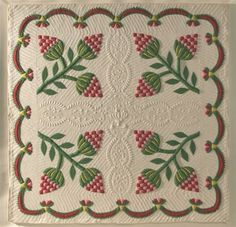Strawberry Quilt, circa 1848, at Olde Hope Antiques.  Appliqued and stuffed-work quilt.