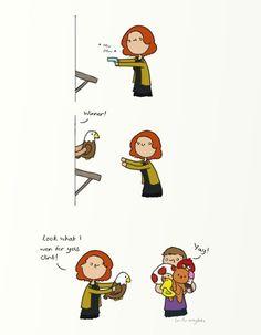 Hahaha I don't ship Clintasha, but this is SO cute! avengers art by gingerhaze Marvel Jokes, Marvel Funny, Marvel Dc Comics, Marvel Heroes, Marvel Avengers, Avengers Memes, Hawkeye, Geeks, Comic Collage
