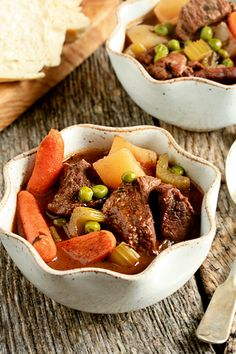 Beef Stew (sometimes I do half water/bullion and half V8 vegetable juice).