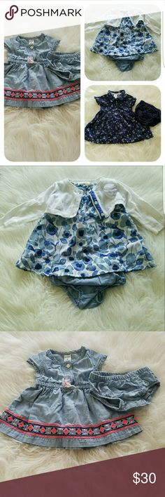 listing 3 dress Bundle All in excellent condition  Bundle 3-6 months 1- Oshkosh dress. Includes dress, diaper cover, and sweater size 3months  2- denim like carter's dress. Comes with diaper cover as well.size 3 months 3- dark blue with flower like design dress. Also with diaper cover. Size 6 months Dresses