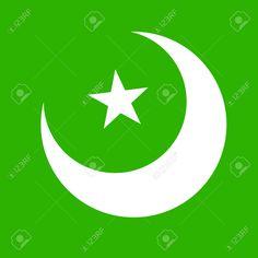 Illustration of Vector Islamic Symbols vector art, clipart and stock vectors. Islamic Art Pattern, Pattern Art, Pakistan Flag Hd, Pakistan Independence Day, Vector Art, Muslim, Clip Art, Symbols, Patterns