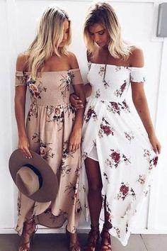 Sexy Fashion Floral Print Strapless Split Maxi Dress