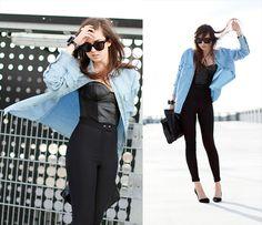 American Apparel Riding Pants, Acne Jeans Denim Shirt, Celine Sunglasses