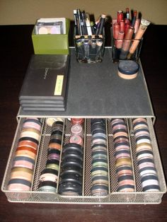 For all my Mac individual eyeshadows!  A K-cup holder drawer.  Then put the stand up stuff on top in containers!  Sooo smart!