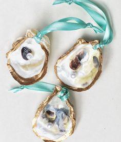 Coastal Christmas Decor.  So simple.  So Beautiful!  Oyster Shell Ornament SET of 3 Beach Christmas Ornament, Beach Christmas, Coastal Christmas, Nautical Holiday Decor by CoastalCornucopia on Etsy https://www.etsy.com/listing/468267106/oyster-shell-ornament-set-of-3-aqua