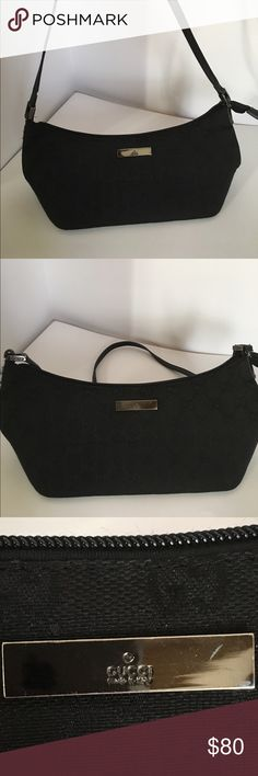 """Vintage Gucci Monogram Black Baguette Authentic Pre-Owned Gucci Monogram Black Baguette  Single black 15"""" leather strap for shoulder or arm use with 6"""" handle drop and zip top closure, Slight wear and tear on exterior stitching (only visible up close) Black GG Monogram Engraved Hardware Black Lined Monogram Interior Gucci Bags Mini Bags"""