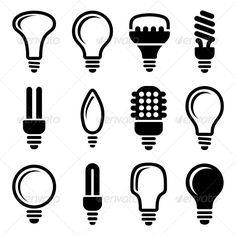 Light Bulbs Icon Set — JPG Image #modern #idea • Available here → https://graphicriver.net/item/light-bulbs-icon-set/5733467?ref=pxcr