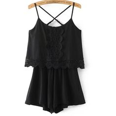 Criss Cross Back Lace Trim Cami Straps Playsuit (€21) ❤ liked on Polyvore featuring jumpsuits, rompers, black, playsuit jumpsuit, playsuit romper, cami jumpsuit, summer rompers and summer jumpsuits