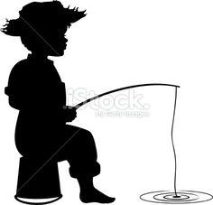 Silhouette of little boy fishing Royalty Free Stock Vector Art Illustration