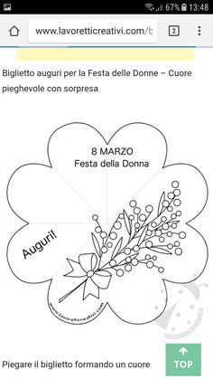 Lavoretto 8 marzo 8 Martie, Ladies Day, Decoupage, Diy And Crafts, Martini, Crafty, Education, School, Flowers