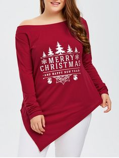 96ca3478813c2 Plus Size Merry Christmas Print Asymmetric Tee - Red Xl