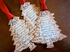 Love Sayings Christmas Tree Ornaments Tags Labels Vintage Style Set Of Five